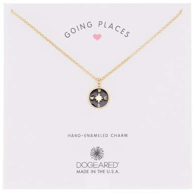 Dogeared 14K Gold Plated Going Places Compass Necklace 14K gold