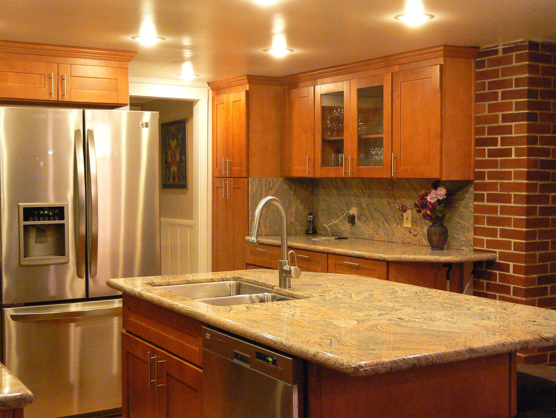 Granite For Natural Cherry Kitchen Cabinets Hy Kitchen Cabinet Stone Inc Cherry Cabinets Kitchen Cherry Kitchen Kitchen Renovation
