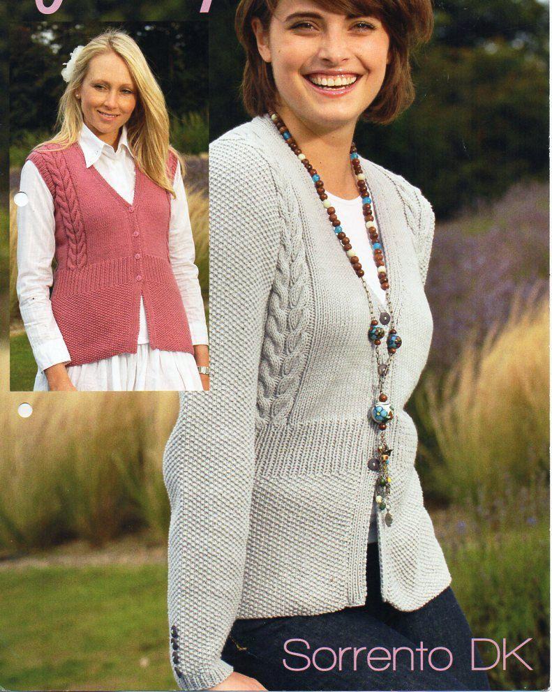42f5b50d56f5 womens cardigan gilet knitting pattern PDF ladies cable jacket waistcoat v  neck 32-42