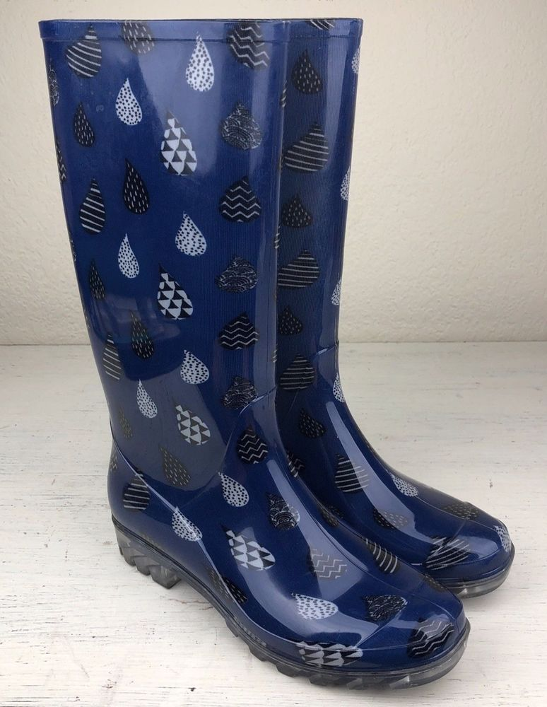 efd34938f57 Toms Womens Cabrilla Rain Boot Moonlight Blue Raindrop Print Size 7   fashion  clothing  shoes  accessories  womensshoes  boots (ebay link)