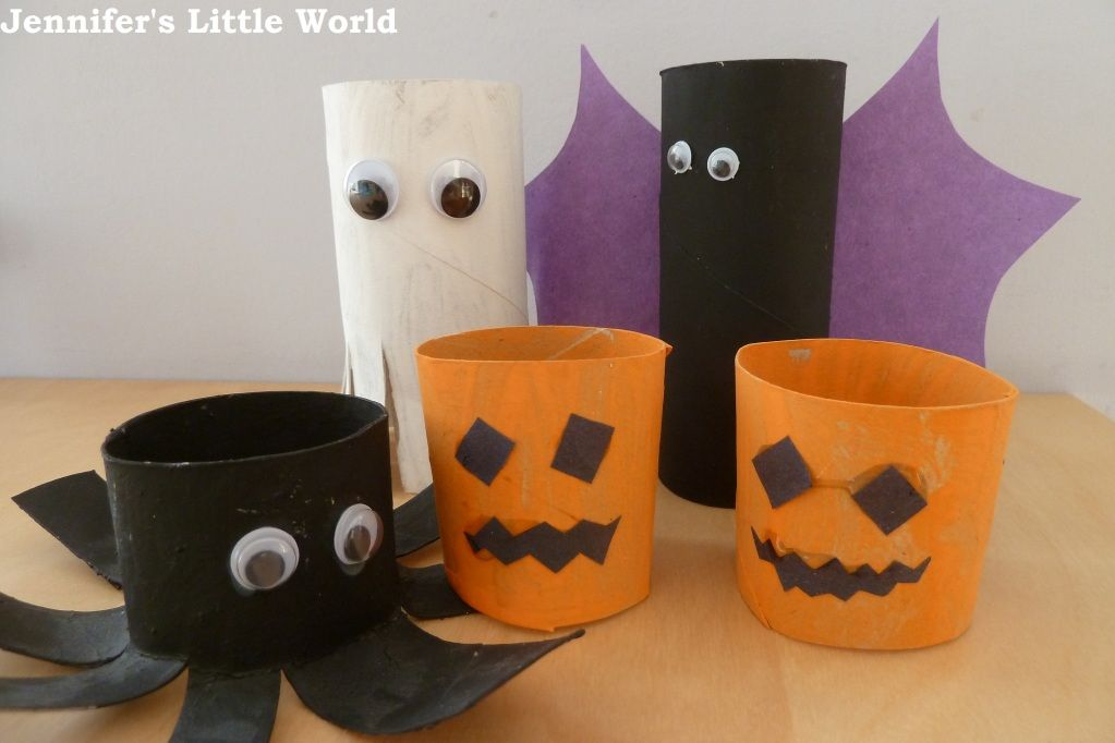 Simple Halloween decorations from toilet roll tubes Toilet, Simple - how to make simple halloween decorations