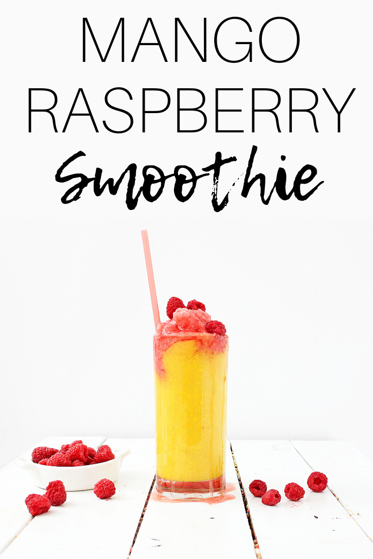 Mango Raspberry Smoothie (Dairy Free) #dairyfreesmoothie Need a healthy dairy free smoothie recipe?  Try this mango raspberry smoothie!  It's made with just a few simple ingredients and makes a great healthy snack for kids or adults. #smoothie #dairyfree #mango #raspberry #smoothies #mangosmoothie #healthysnack #dairyfreesmoothie