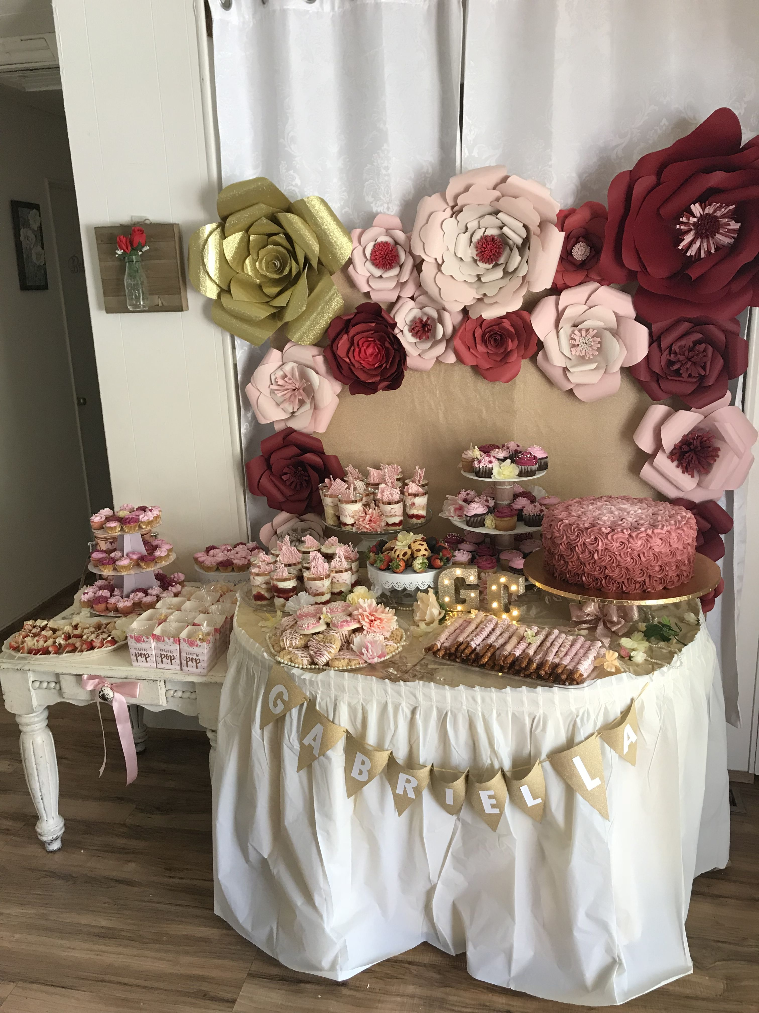 pink burgundy and gold baby shower theme cake dessert table