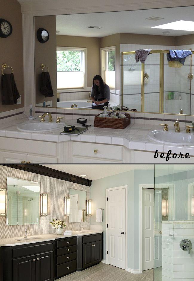 30 Master Bathroom Remodel Designs Tips Details Onabudget Beforeandafter Small Grey Bathroom Remodel Master Bathrooms Remodel Small Bathroom Remodel