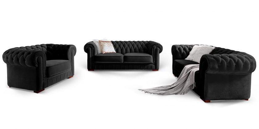 Designer Chesterfield Sofa Garnitur Stoff Samt Schwarz Barock Knopfheftung Chesterfield Sofa Chesterfield Mobel Sofa