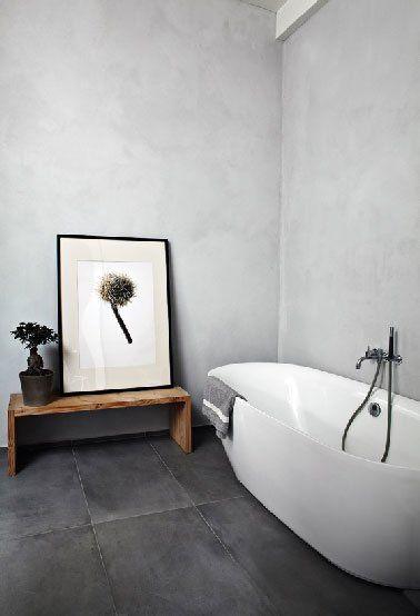 salle de bain carrelage gris anthracite mur beton gris perle