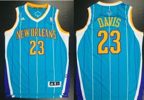 8b40a5cdabab New Orleans Hornets  23 Anthony Davis Revolution 30 Swingman Blue Jersey