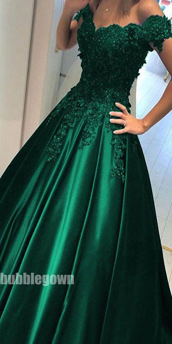 Off the Shoulder Green Elegant Formal Cheap Long Prom Dress, BGP075 #bluepromdresses