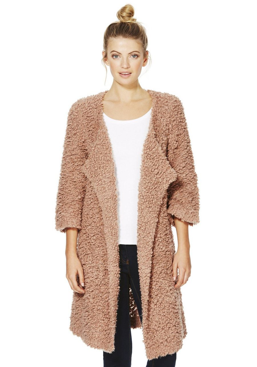 Clothing at Tesco | F&F Textured Popcorn Knit Cascade Cardigan ...