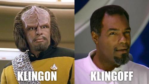 Klingon/ Klingoff | Star trek funny, Star trek klingon, Klingon