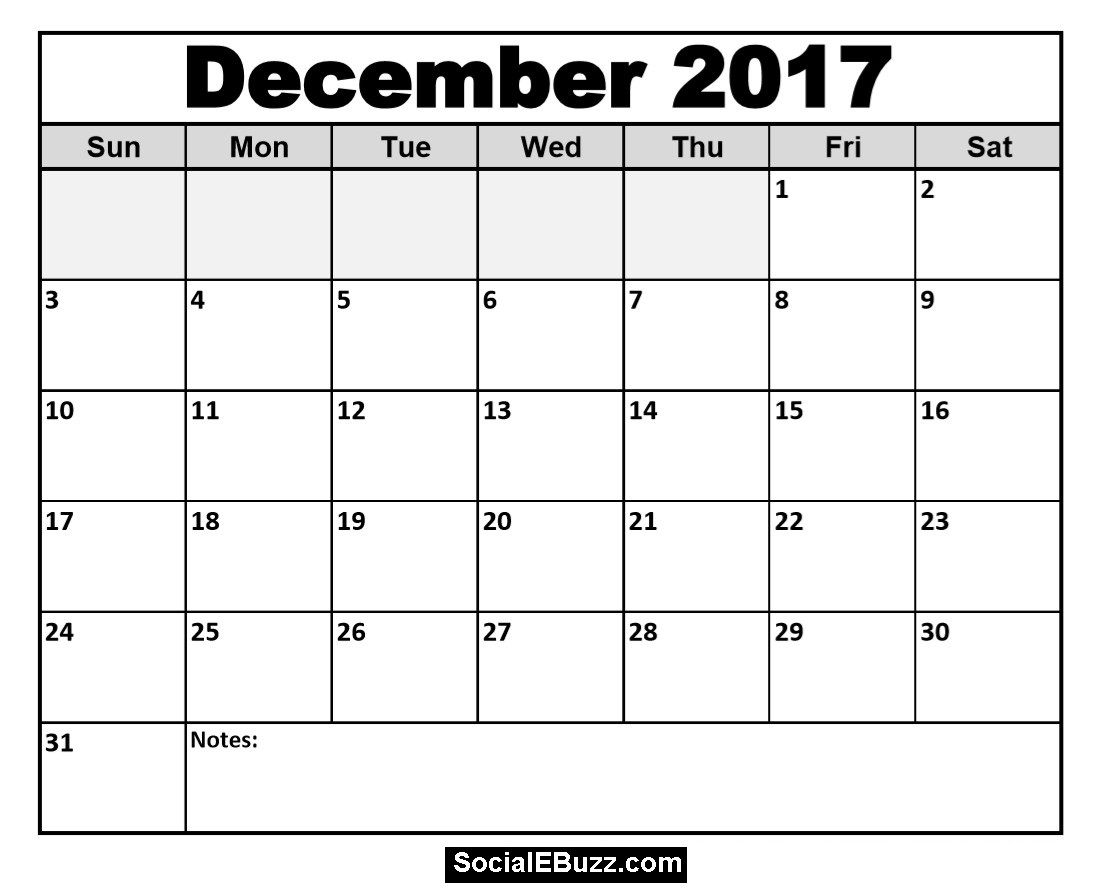 December Calendar Printable Template With Holidays