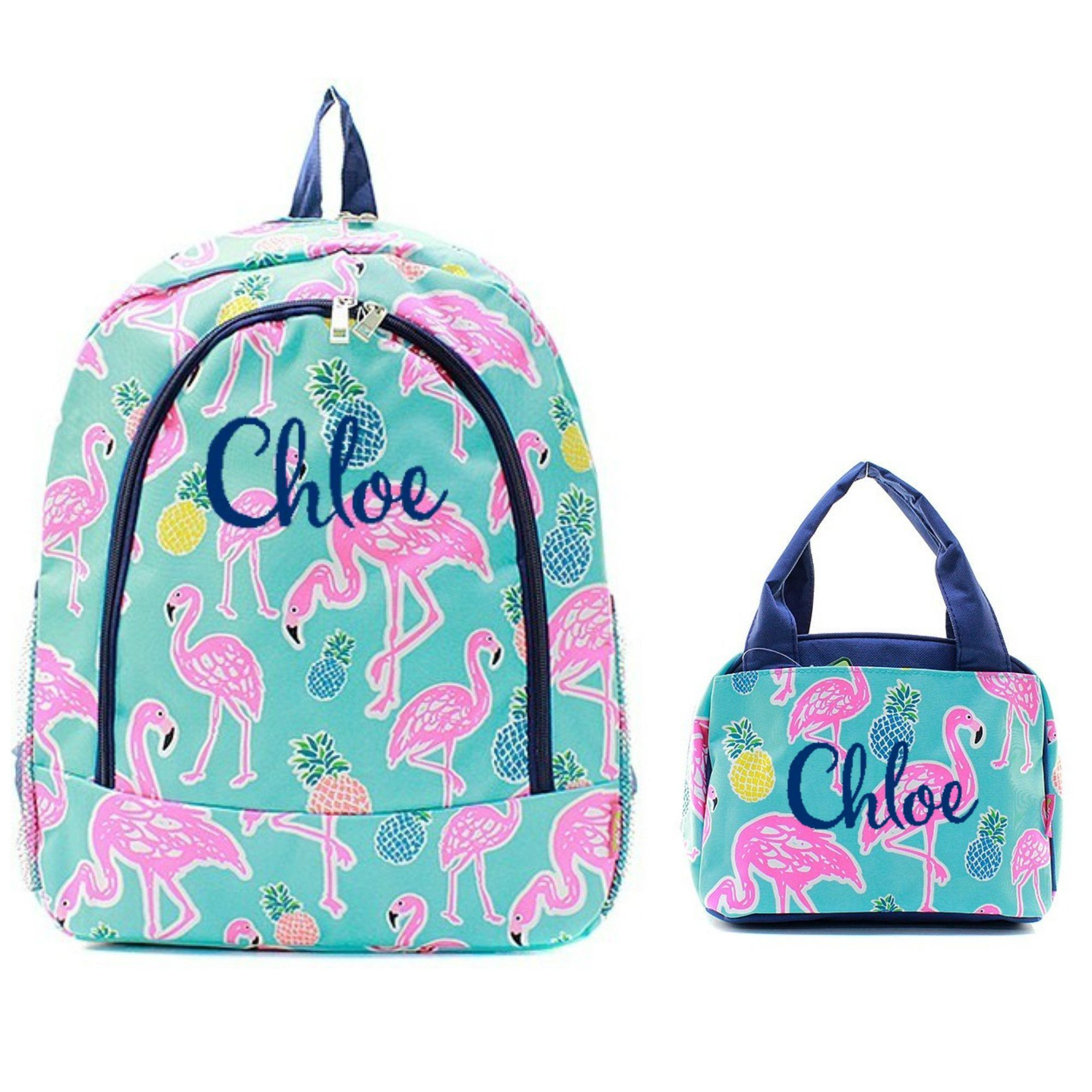 b49cf93447a7 Matching Flamingo Navy Personalized Kids Backpack & Lunch Bag Set ...