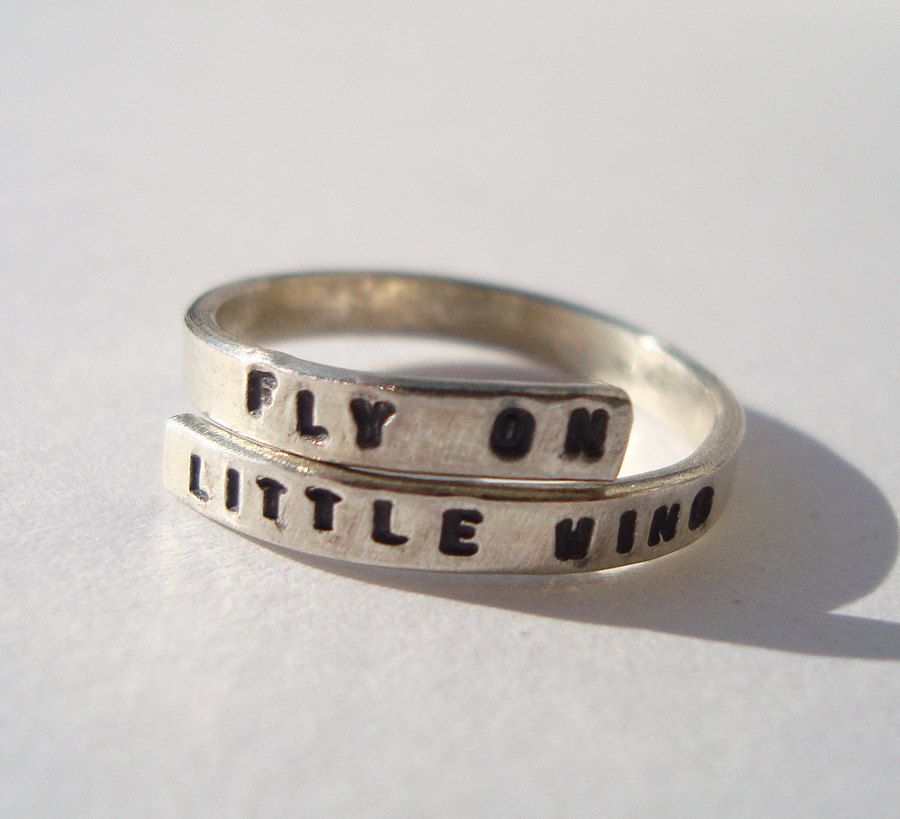 Jimi Hendrix Lyric Ring Fly on Little wing Sterling Silver 925