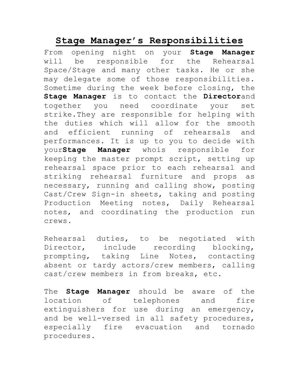 StageManagersResponsibilities By Bryonsparks Via