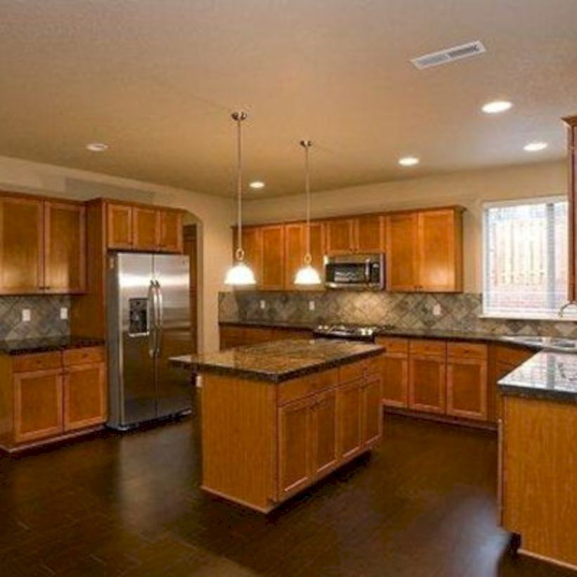 50 Amazing Dark Wood Floor Ideas Kitchen Http Homecemoro Com 50 Amazing Dark Wood Floor Ideas Kitc Honey Oak Cabinets Wood Kitchen Cabinets Kitchen Flooring