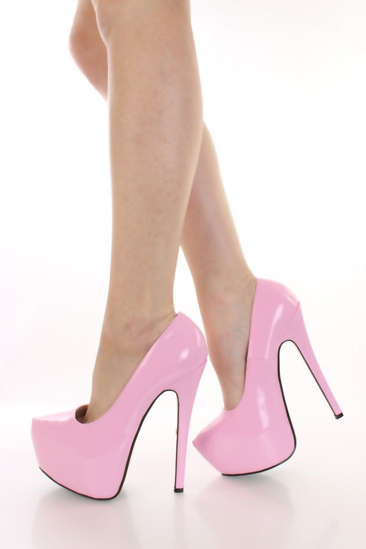 Light Pink Patent Faux Leather Pump Heels