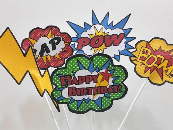 superhero centerpiece picks, marvel comic centerpiece sticks, superhero centerpiece, superhero birthday picks on Etsy, $25.00