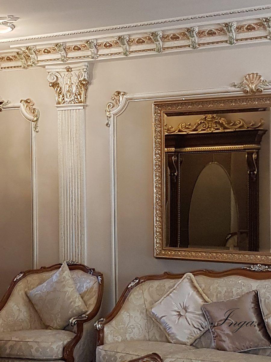 Cornici Gesso Per Pareti realizzazioni | inga parete decorata con stucchi in gesso