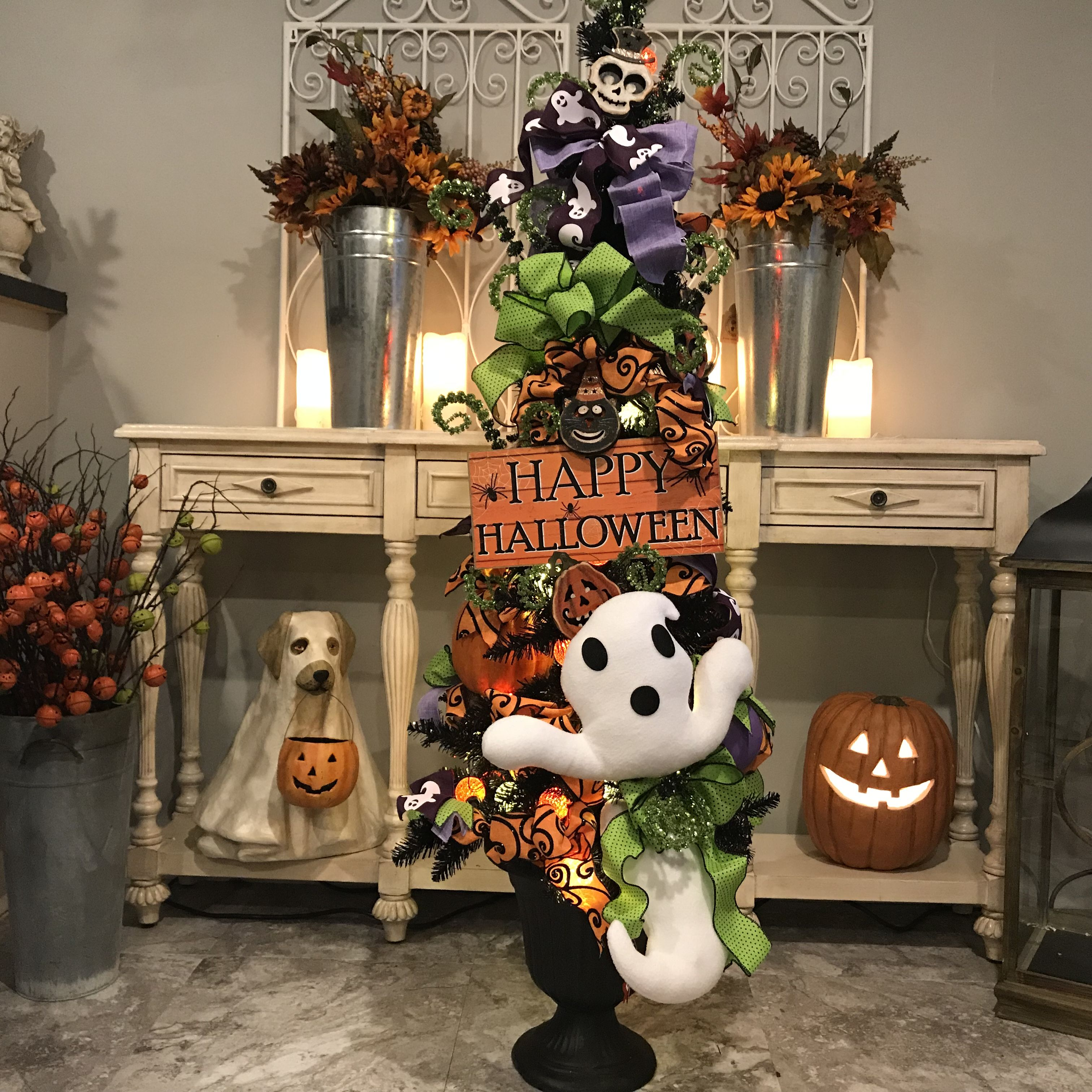Halloween Tree Decorated With Items Found Online At Shelley B Home And Holiday Shown On Our 5ft Black Halloween