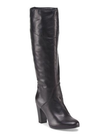 Leather High Heel Zip Boot