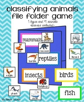 Classifying Animals File Folder Game | Reptiles and Insects