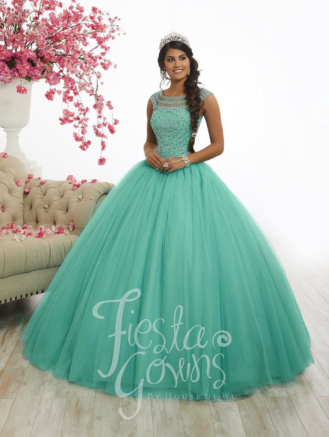 0659d02a1682 Embellished Cap Sleeve Quinceanera Dress by Fiesta Gowns 56340 in ...