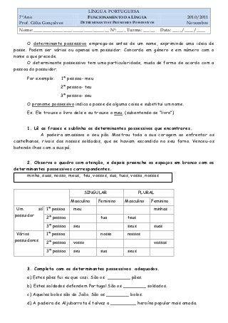Ficha Dos Determinantes E Pronomes Possessivos Pronomes