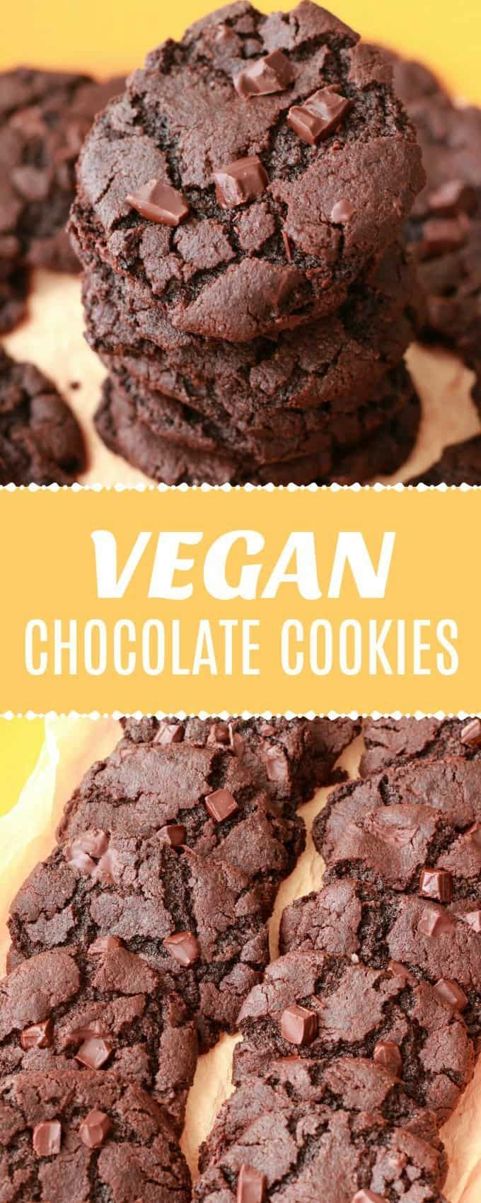 satisfying double-chocolate vegan chocolate cookies! Quick and easy, crunchy and soft, perfect for satisfying all your chocolate cravings. |