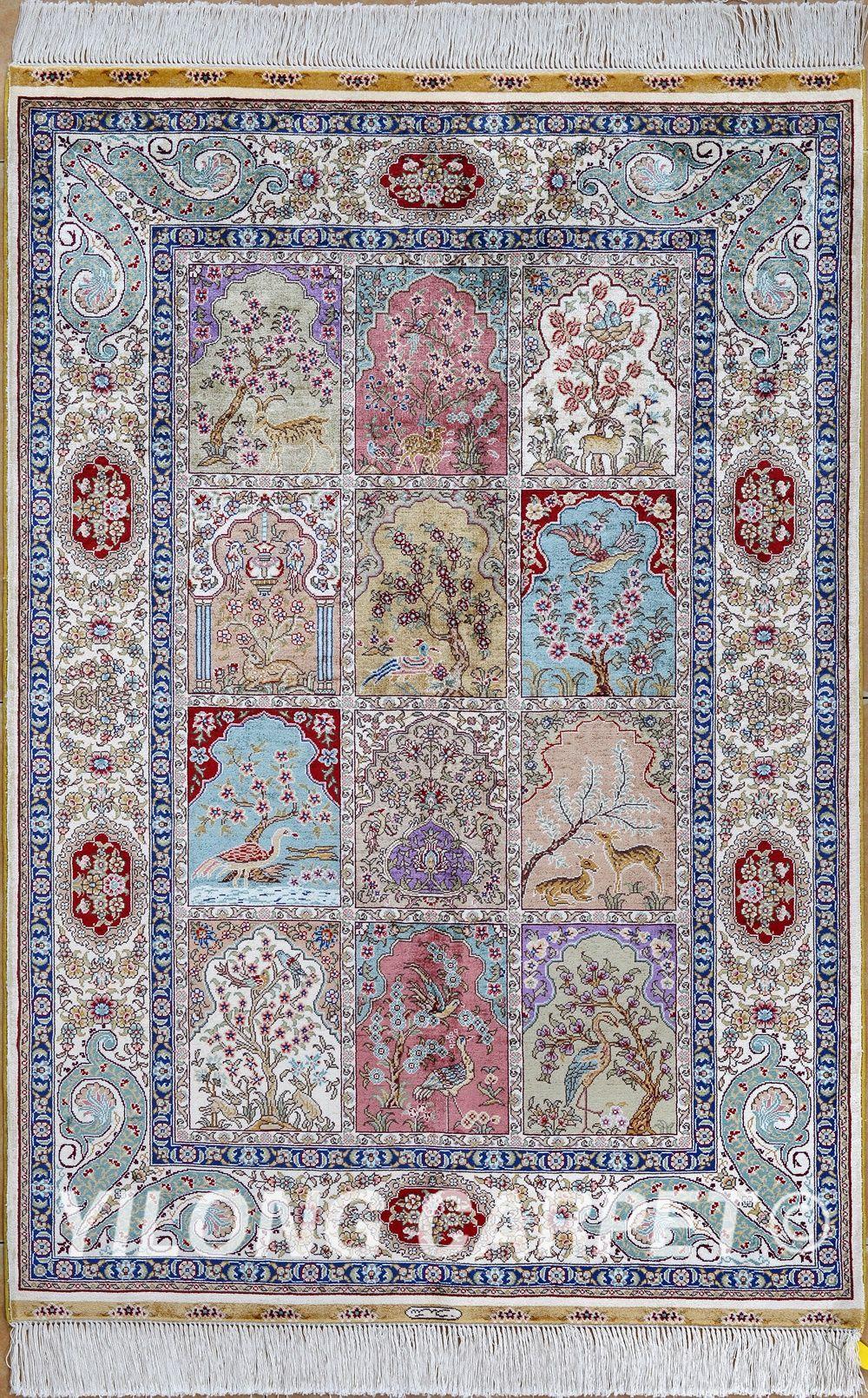 Purple Persian Rug Oriental Turkish Carpet Silk Tabriz Rugs Hereke Area Materials Style Traditional Dyeing Vegetable Technology