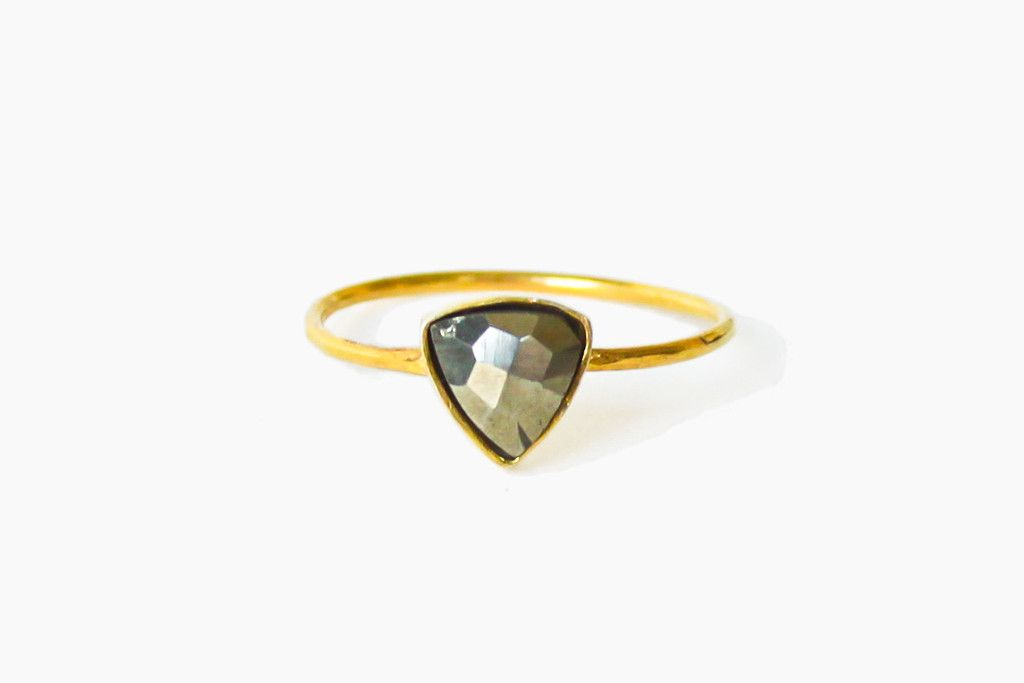 Faceted Pyrite Triangle Ring | Moorea Seal