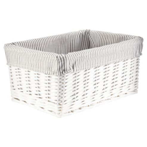 Buy Tesco White Wicker Grey Stripe Lined Media Storage from our Crates    Boxes range. Buy Tesco White Wicker Grey Stripe Lined Media Storage from our