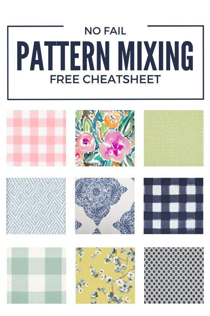 How to Mix Patterns 101: A No Fail Pattern Mixing Cheatsheet #homedecor #decorating #patterns #mixingpatterns #decoratingtips #decoratinginspiration #printable #cheatsheet #diy