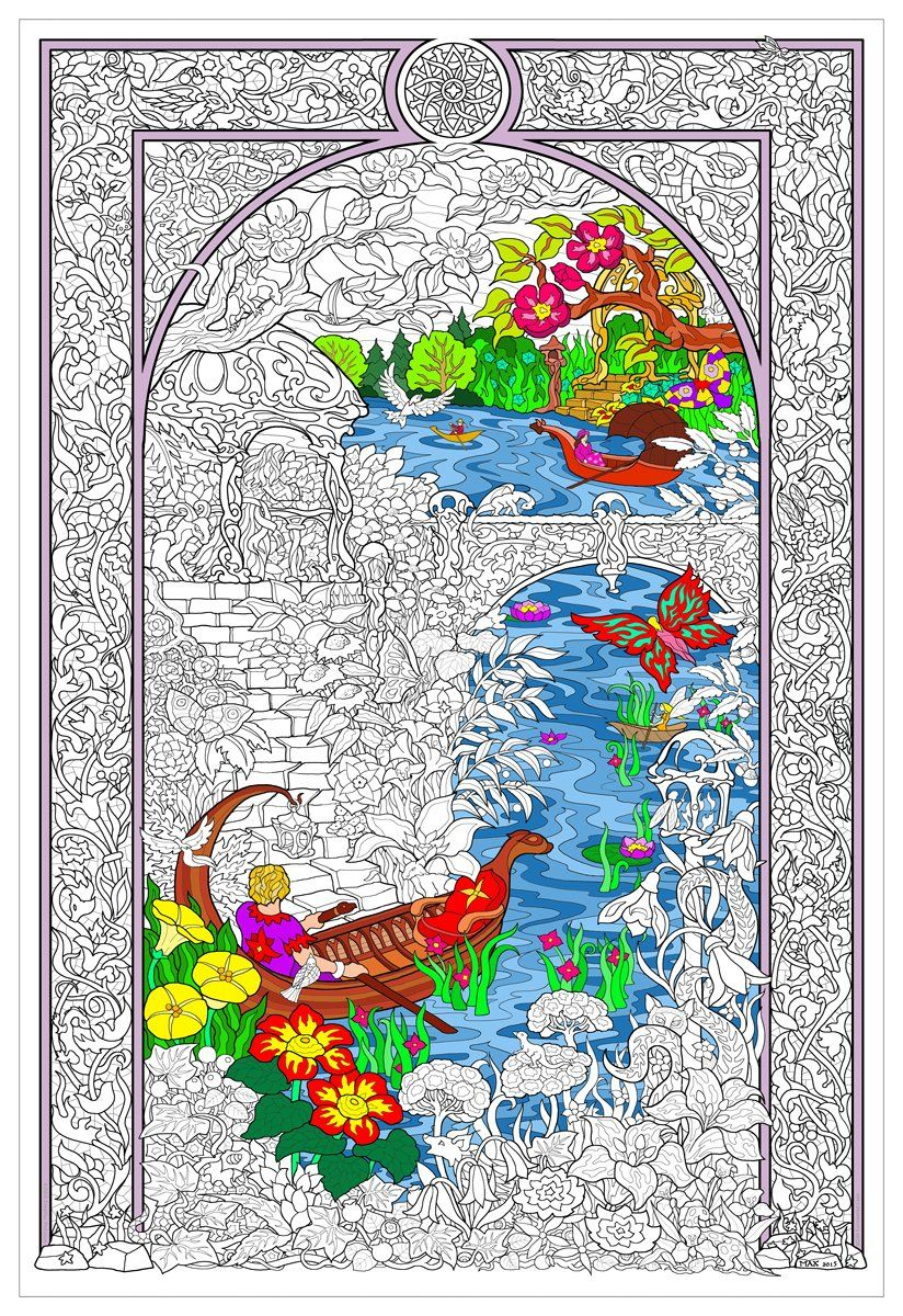 Amazon Com Enchanted Lake Giant Wall Size Coloring Poster