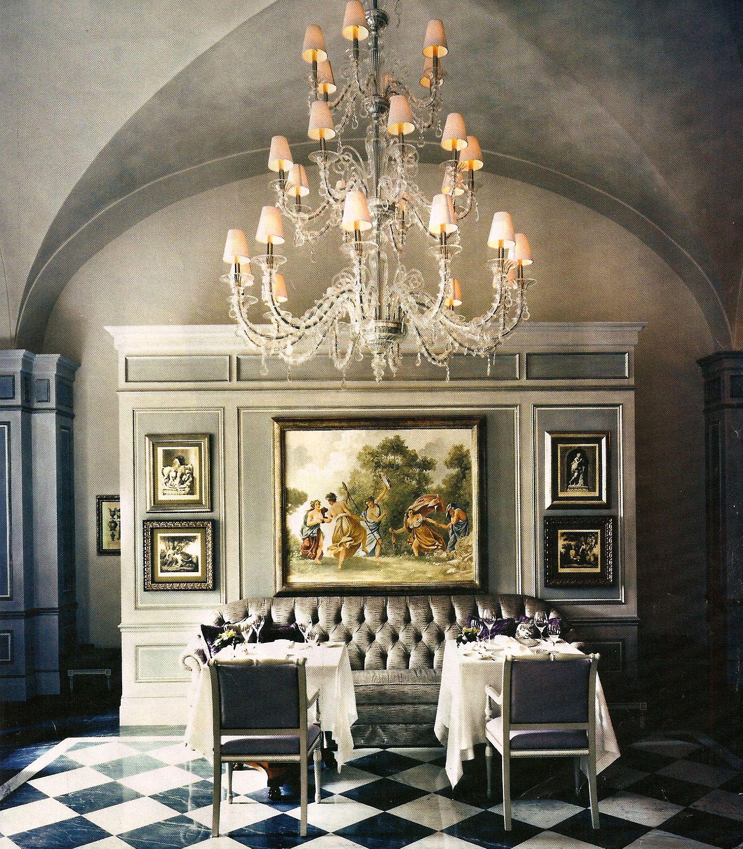 italian villa European decor, Dark grey dining room