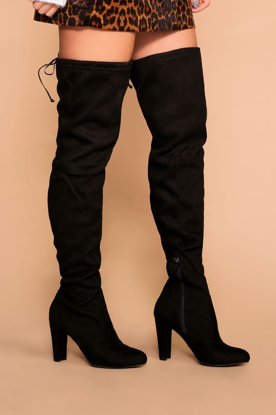 5af558917b6 Stand Tall Black Over The Knee Suede Boots