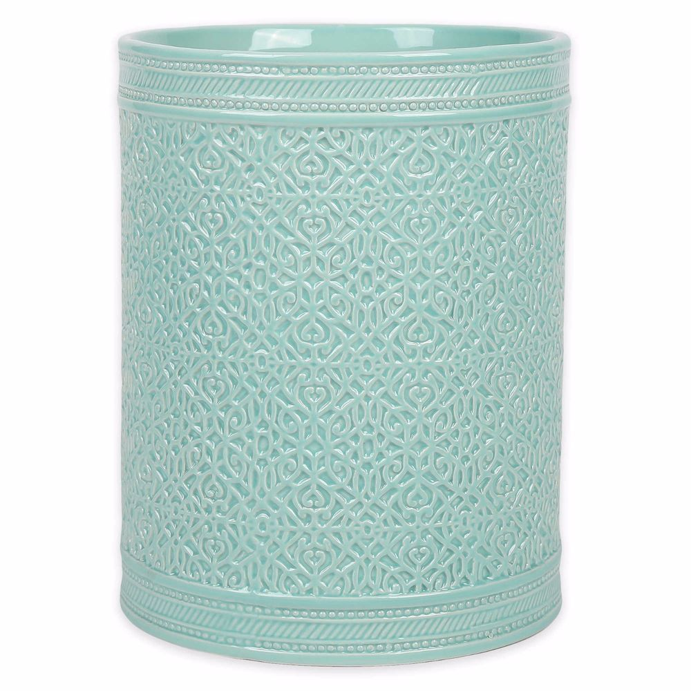 Blue Ceramic Wastebasket Aqua Colored Bathroom Decor Trash Can Waste Bin Santiago