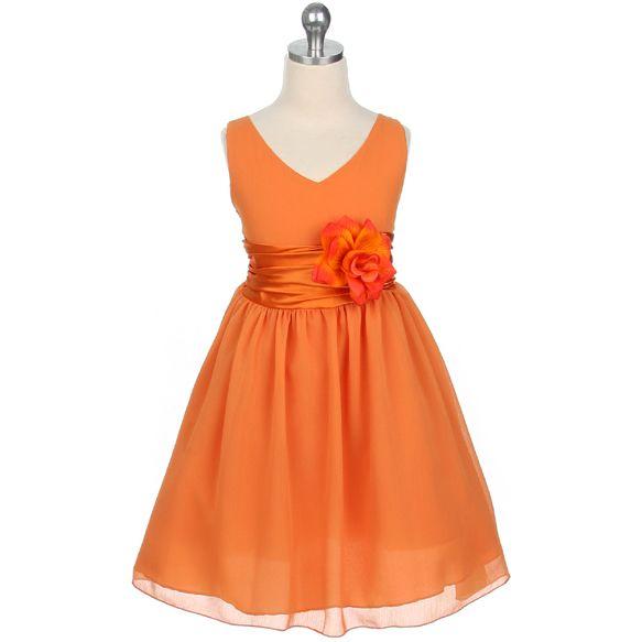 Flower Girl Dresses - Easter Dresses - Flower Girl Dresses Discount Cheap Designer Dressforless - MB1082 - Orange Yuro Chiffon Flower Girl Dress - Isabell