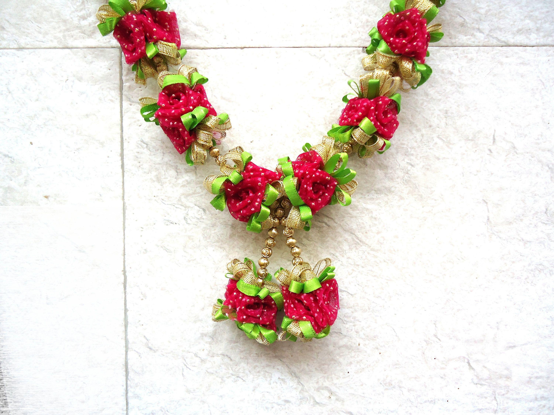Pink rose ribbon wedding garland photo or statue garland idol