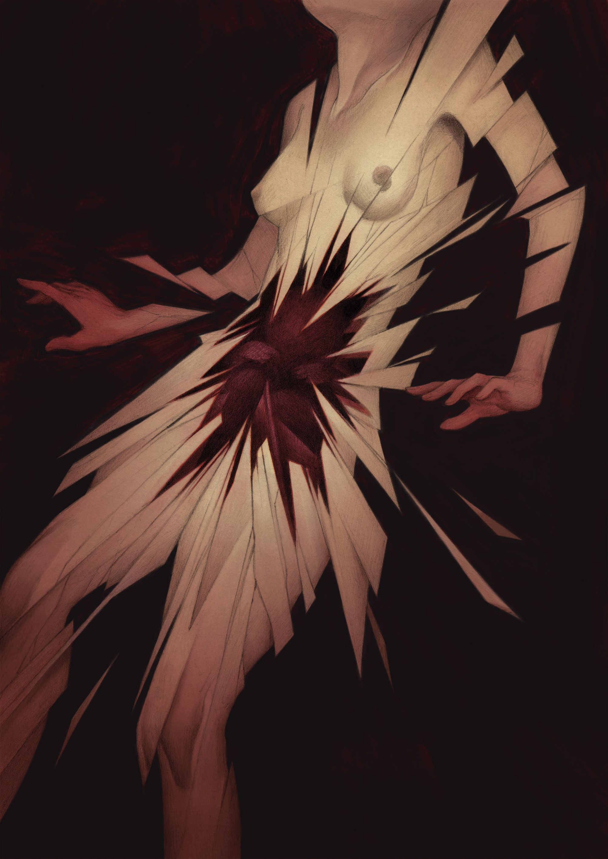 Illustration by Ashley Mackenzie for the poem 'Exorcism' by Gavin Bryce - Popshot Issue Ten