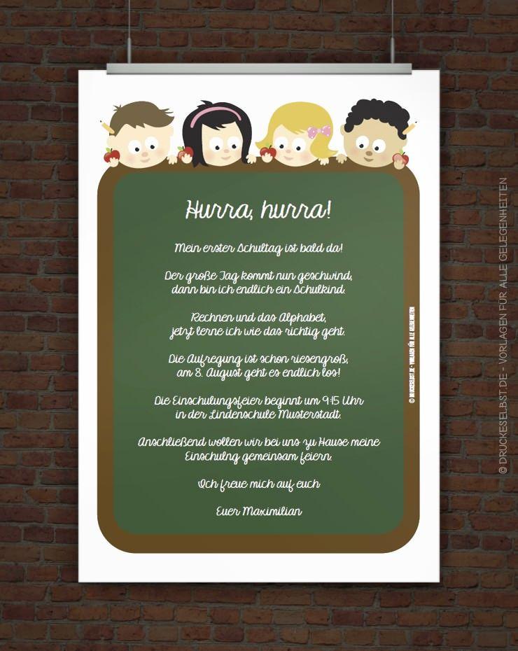 Drucke Selbst Kostenlose Einladung Zur Einschulung Einladung Einschulung Einladung Schulanfang Einschulung