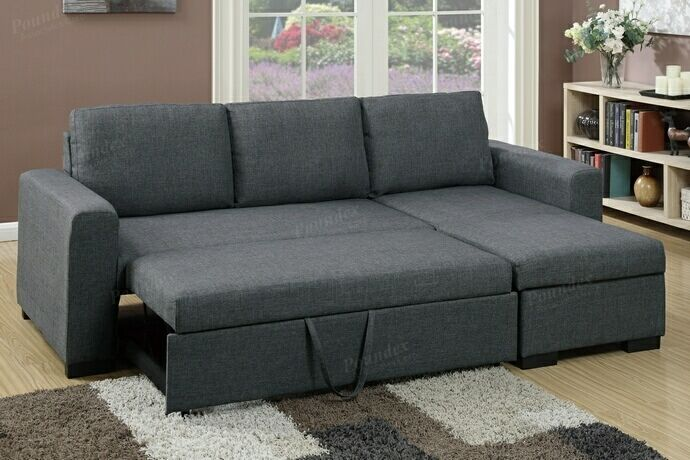 Poundex F6931 2 Pc Everly Blue Grey Polyfiber Fabric