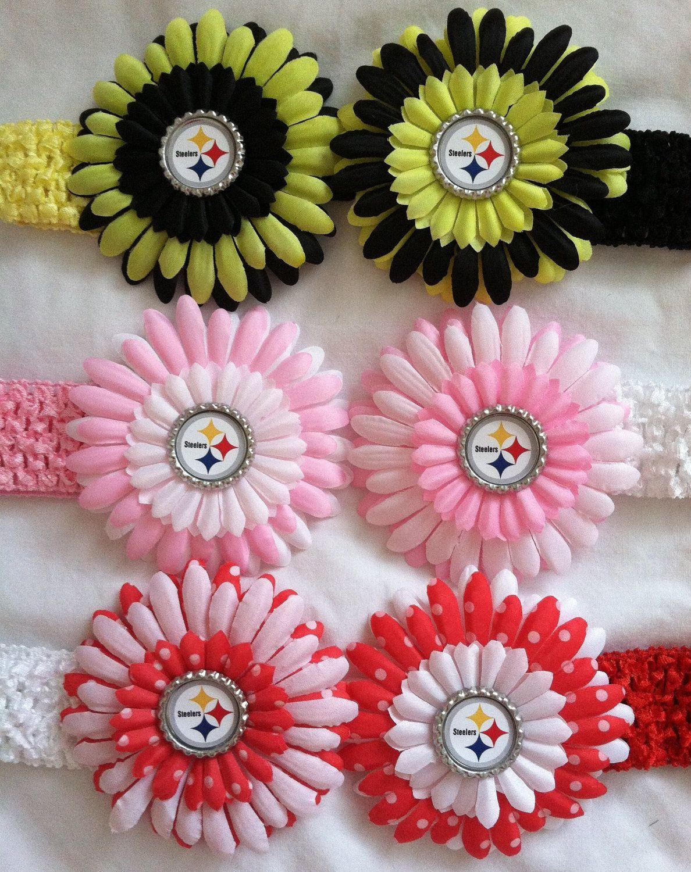 6e8e82c2 Pittsburgh Steelers Baby Hair bow Clip headband black yellow pink ...