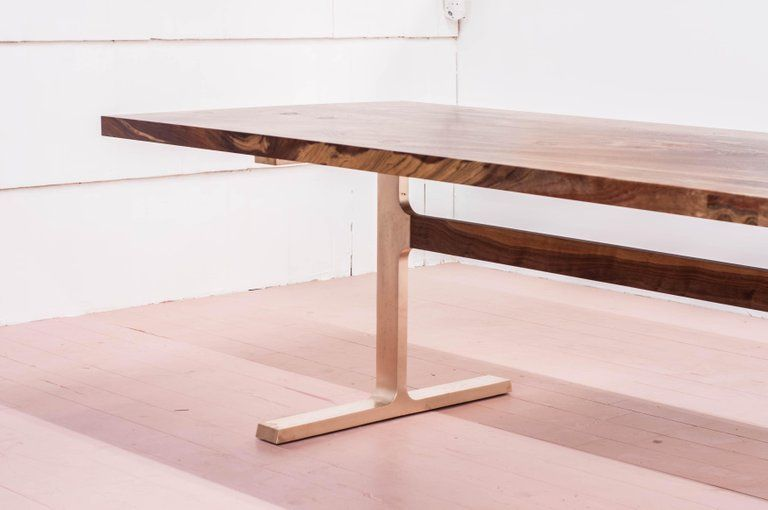 Claro Walnut Bronze Shaker Table Aluminum Table Slab Dining