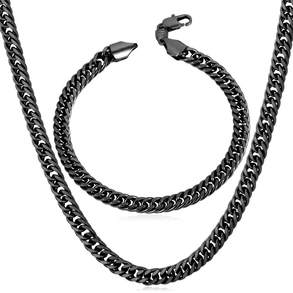 Черный ММ БраслетЦепочка И Ожерелье Мужчин Ювелирные Изделия