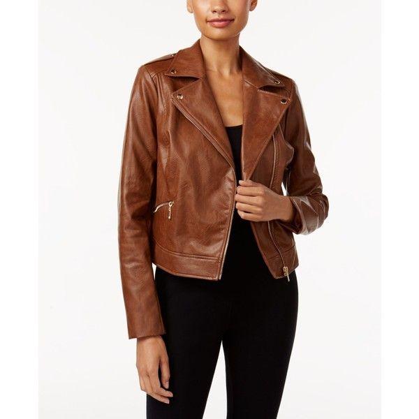 Thalia Sodi Faux Leather Moto Jacket Created For Macy S 75 Liked On Polyvore Featu Blazer Jackets For Women Faux Leather Moto Jacket Vegan Leather Jacket