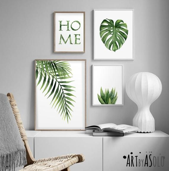 Monstera Leaf Poster. Tropical verlässt Artwork. Oberhalb der Bettwand Kunst. Aquarell Foliage Decor, bedruckbares australisches Poster, Trend-Illustration