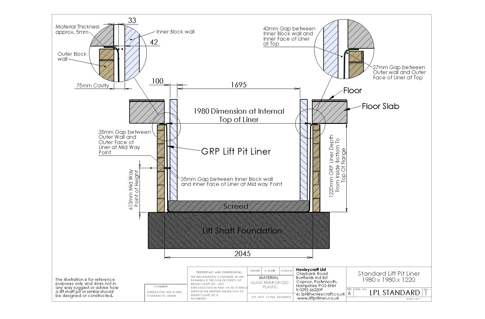 Lift Pit Shaft Liner Diagram