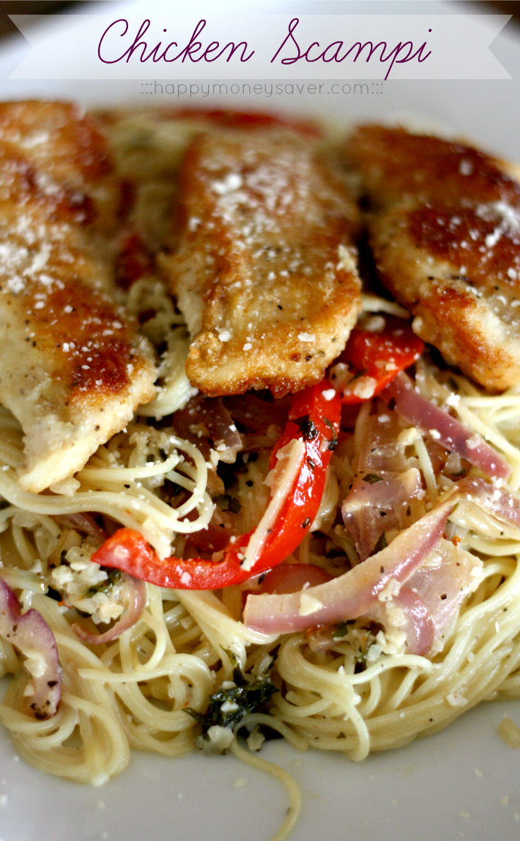 This chicken scampi recipe is to die for. Angel hair pasta covered ...