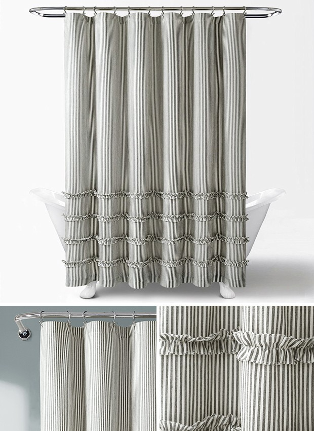 Vertical Stripe Shower Curtain In 2020 Striped Shower Curtains