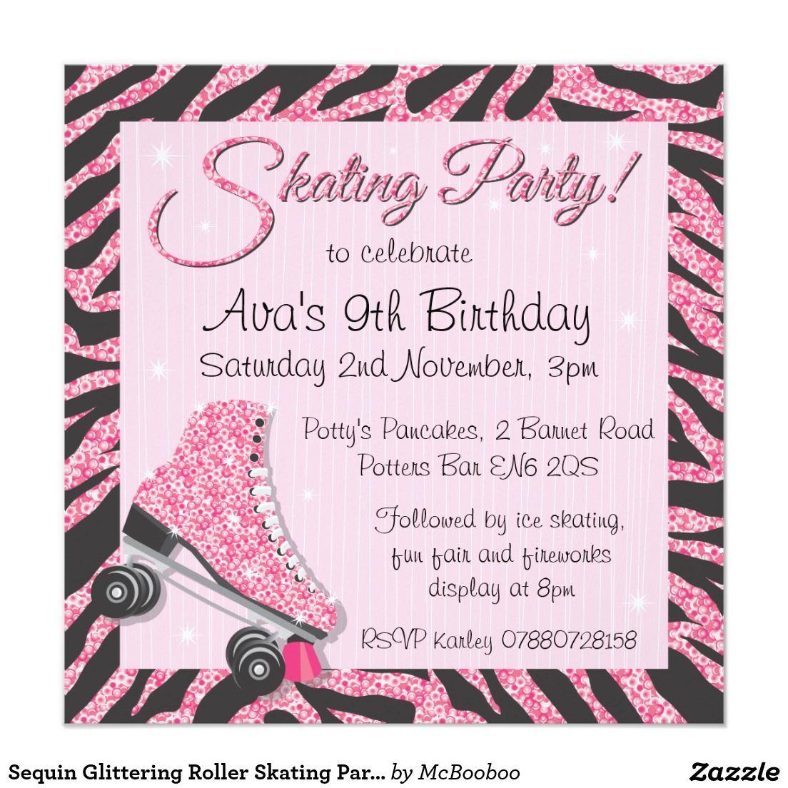 Sequin Glittering Roller Skating Party Invitations | Bachelorette ...